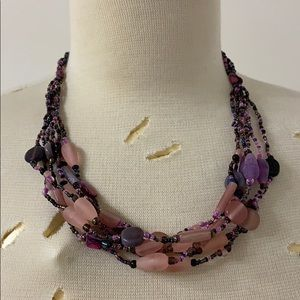 Pinks & Purples galore beaded necklace